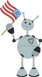 4th of July Flag holding springy round robot. Happy Gray Robot Waving Flag editable  illustration Stock Images