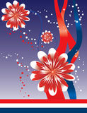 4th of July Floral Abstract Background. Fourth of July floral abstract background designed in Illustrator.  Vector format can be enlarged to any size Royalty Free Stock Image