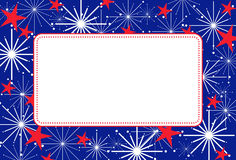 4th of July Frame. Abstract frame of 4th of July fireworks bursting and stars behind a white copy space Stock Images