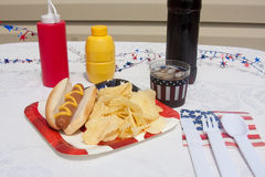 4th Of July Hotdog Meal Stock Photo