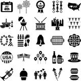 4th July icons. This is a collection of icons related with the 4th of July Stock Photography
