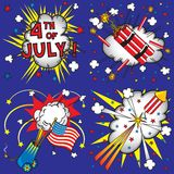 4th of July Icons and Explosions. Comic book inspired 4th of July Fireworks, individually grouped Royalty Free Stock Images