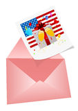 4th July Illustration with photo and envelop. On white Royalty Free Stock Photo