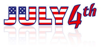 4th of July - Independence Day. Isolated text July 4th with USA flag pattern with reflection on white background Stock Images