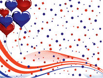 4th july - Independence day. Illustration of red and blue balloons and stars and stripes on white background Royalty Free Stock Photo