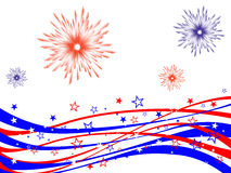 4th july - Independence day. Illustration of red and blue stars and stripes and fireworks on white background Stock Photos