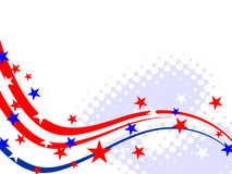 4th july - Independence day. Illustration of red and blue stars and stripes and fireworks on white background Royalty Free Stock Images