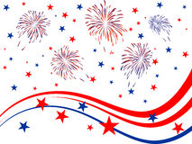 4th july - Independence day. Illustration of red and blue stars and stripes and fireworks on white background Royalty Free Stock Photos