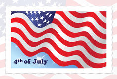 4th of July Independence Day - American Flag. Illustration of waving American Flag on Stamp Royalty Free Stock Photo