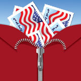 4th of July Independence Day - postcards in zipper. Illustration of American flags on postcards in zipper Stock Photo