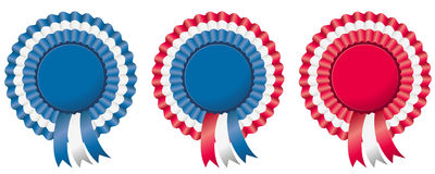 4th of july independence day rosette. Or badge in american flag colors Vector Illustration