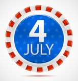 4th July label, vector. 4th July label with ribbons, vector illustration eps10 Stock Images
