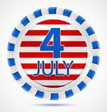 4th July label, vector. 4th July label with ribbons, vector illustration eps10 royalty free illustration