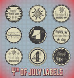 4th of July Labels and Icons. Collection of retro style 4th of July labels and icons with red white and blue color scheme Royalty Free Stock Photography