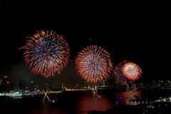 4th of July Macys fireworks display. On Hudson River Stock Images