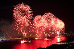 4th of July Macys fireworks display. On Hudson River Royalty Free Stock Photo