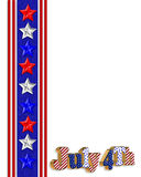4th of July patriotic border. 4Th of July stars, stripes patriotic American borders for holiday greeting, invitation or stationery with 3D text , balloons and Stock Illustration