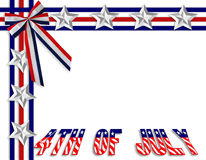 4th of July patriotic border. 3 Dimensional illustration of Stars and Stripes for 4th of july patriotic border or background with copy space Vector Illustration