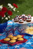4th of July picnic. Cornbread and muffins on 4th of July in patriotic theme Stock Photo
