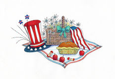4th of July Picnic. An Illustration of a 4th of July picnic setup. Made with markers and colored pencils Stock Photos