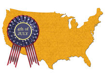4th July Ribbon. On USA map Royalty Free Stock Image