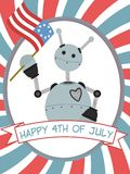 4th of July Robot Waving Flag Banner Stock Photo