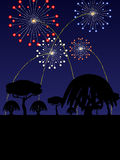 4th of July scenic illustration. Fourth of July scene with fireworks, trees and horizon silhouette royalty free illustration
