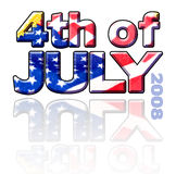 4th of July Sign. 4th of July graphic sign with flag inside type and reflection Royalty Free Stock Photo