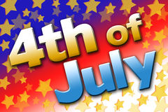 4th of July Sign Graphic. Bold and colorful 4th of July sign graphic Royalty Free Stock Image