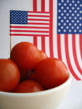 4th July Tomatoes. Eat healthy food. Snack on juicy red cherry tomatoes on 4th July stock images