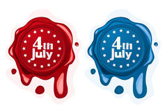 4th of July wax seals. In red and blue tones over white background stock illustration