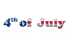 4th of July Writing. With reflection over white background Royalty Free Stock Images