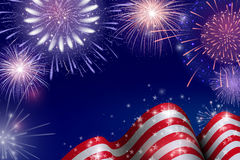 Free 4th Of July, American Independence Day Celebration Background With Fire Fireworks. Congratulations On Fourth Of July. Royalty Free Stock Image - 93851686