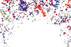 Free 4th Of July American Independence Day Decorations Stars Confetti Isolated Frame Royalty Free Stock Photo - 182535015