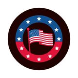 4th Of July Independence Day, American Flag In Pole Stars Badge Block And Flat Style Icon Stock Image