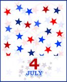 4th vektor för USA för kortjuli tema Royaltyfri Foto