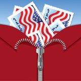 4th zipper för dagsjälvständighetjuli vykort royaltyfri illustrationer