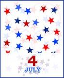 4to de la tarjeta del vector de julio. tema de los E.E.U.U. Foto de archivo libre de regalías