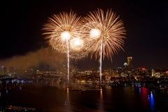 4to de los fuegos artificiales de julio en Boston Imagen de archivo libre de regalías