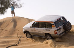 4wd desert safari. Is a popular program for tourists in dubai. it gives you an opportunity to see the Golden sand Dunes of Arabia in 4 wheel drives where you Royalty Free Stock Images