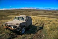 4wd track. 4wd highland Tussock land new Zealand Royalty Free Stock Photo