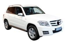4x4汽车查出严格的suv白色 免版税图库摄影