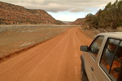 4x4 on a dirt road. In the desert Stock Images