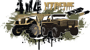 4x4 extreme. Vector illustration off-road car with grunge background Royalty Free Illustration