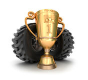 4x4 golden trophy cup with tires. Royalty Free Stock Photos