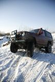 A 4X4 Jeep. Winter journey. Jeep in a snowy rural place stock photos