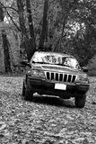 4x4 na fuga off-road. B&W foto de stock