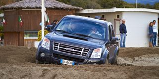 4x4 racing on the beach Stock Photography
