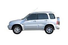 4x4 samochód odosobniony z drogowego biel Zdjęcia Royalty Free