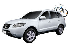 4x4 suv with bicycle isolated Stock Photography